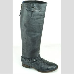 Steve Madden Leather Riding Boots + Back Zipper